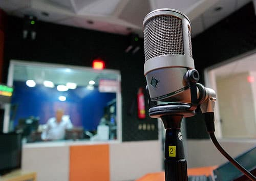 microphone in a sound studio.