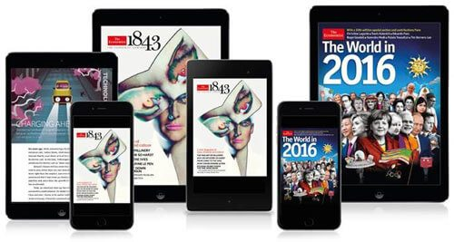 6 mobile devices lined up with magazine covers on each screen