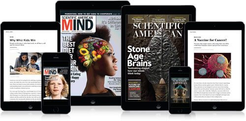 6 mobile devices lined up with magazine covers and stories on each screen