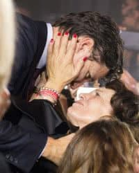 Justin Trudeau embracing his mother during election win.