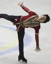 Nathan Chen, of the United States, performs during the men's free skate at the World Team Trophy Figure Skating competition in Tokyo..