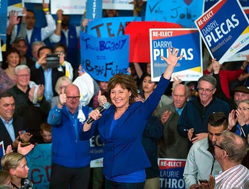 Christy Clark addressing a rally