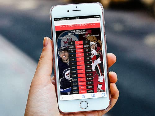Graphic of hockey statistics displayed on a mobile phone.