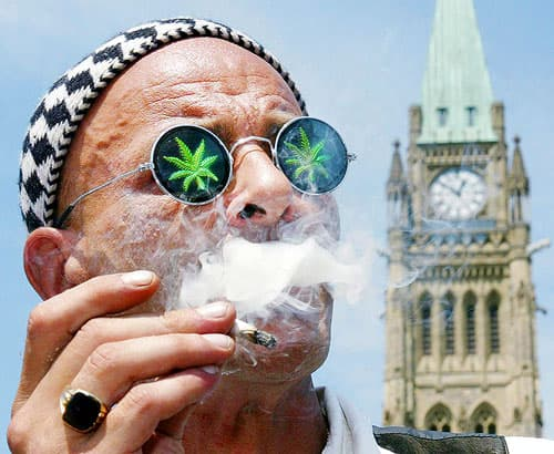 Man wearing glasses with marijuana leaves on the lenses, smoking marijuana in front a parliament building.