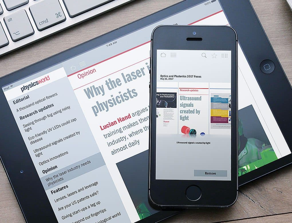 Physics World digital Pugpig publication on an iPhone and an iPad