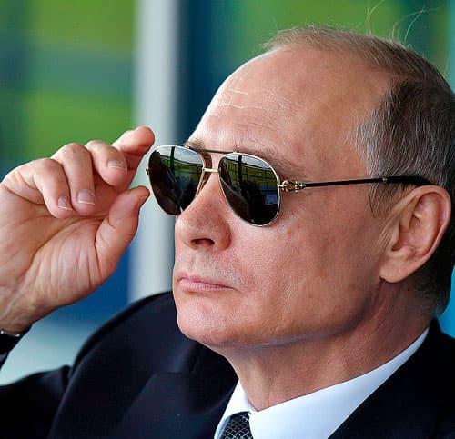 Vladimir Putin wearing dark sunglasses