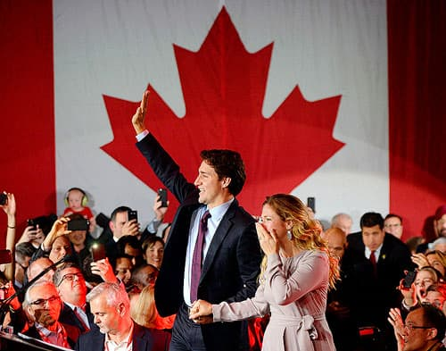 Justin Trudeau and Sophie Gregoire celebrating election win.