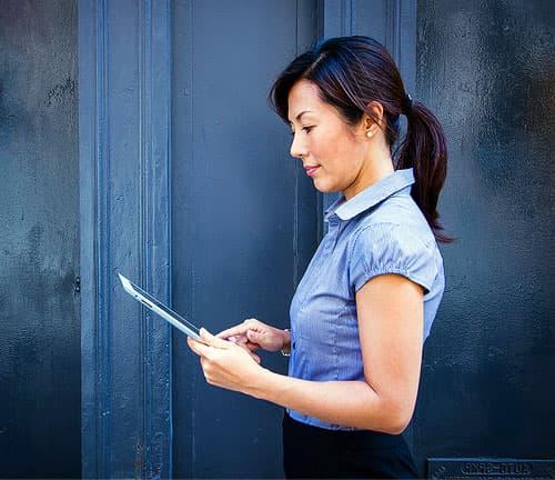 Woman assessing financial data