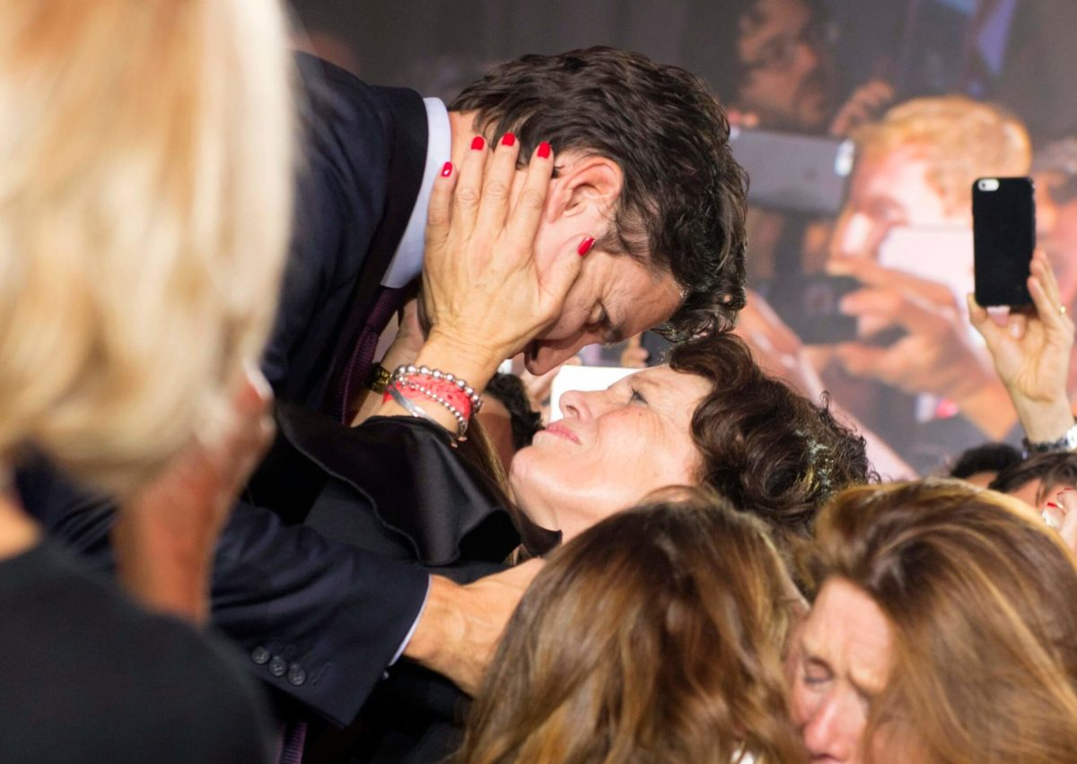 Justin Trudeau embracing his mother on election night.