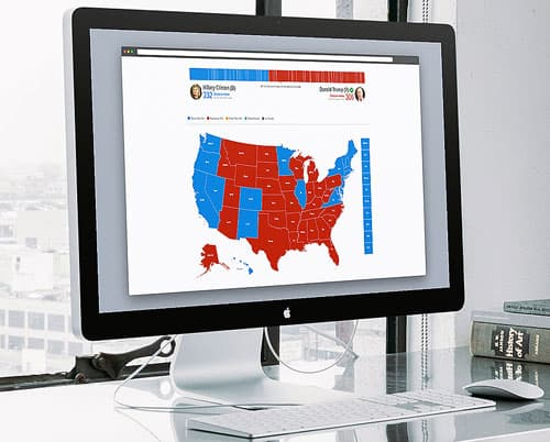 Map of the United States displayed on a computer monitor with parts of the map colored red and blue.