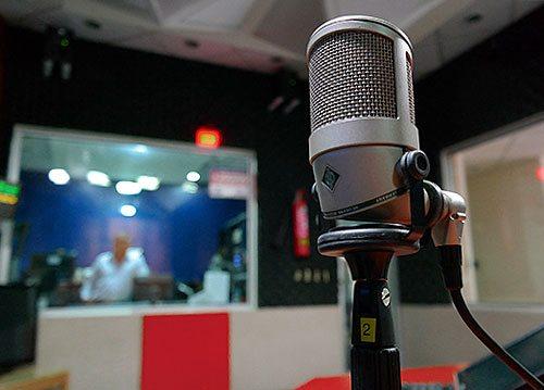 Microphone in a sound studio.