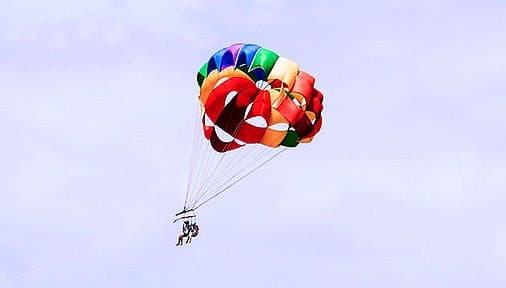 A couple descending with a parachute