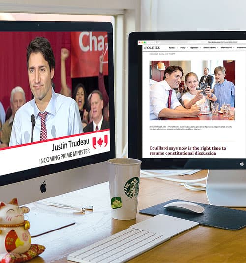 A picture of Justin Trudeau displayed on a computer monitor.
