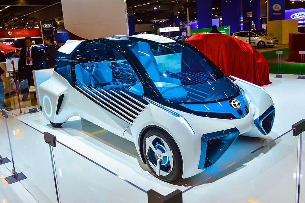 Concept car on display at an auto show