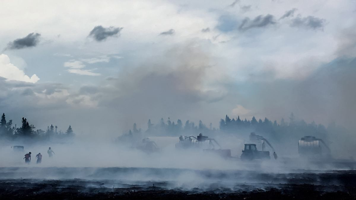 firefighters putting out a peat-bog fire in New Brunswick