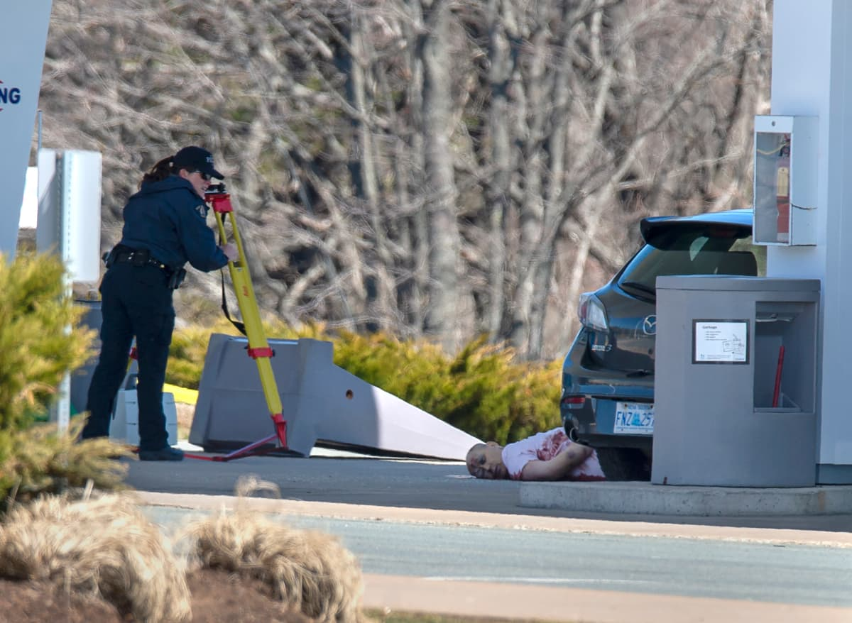 the body of Gabriel Wortman, shot and killed by police at a gas station after he killed 22 people during a 13-hour rampage in Nova Scotia