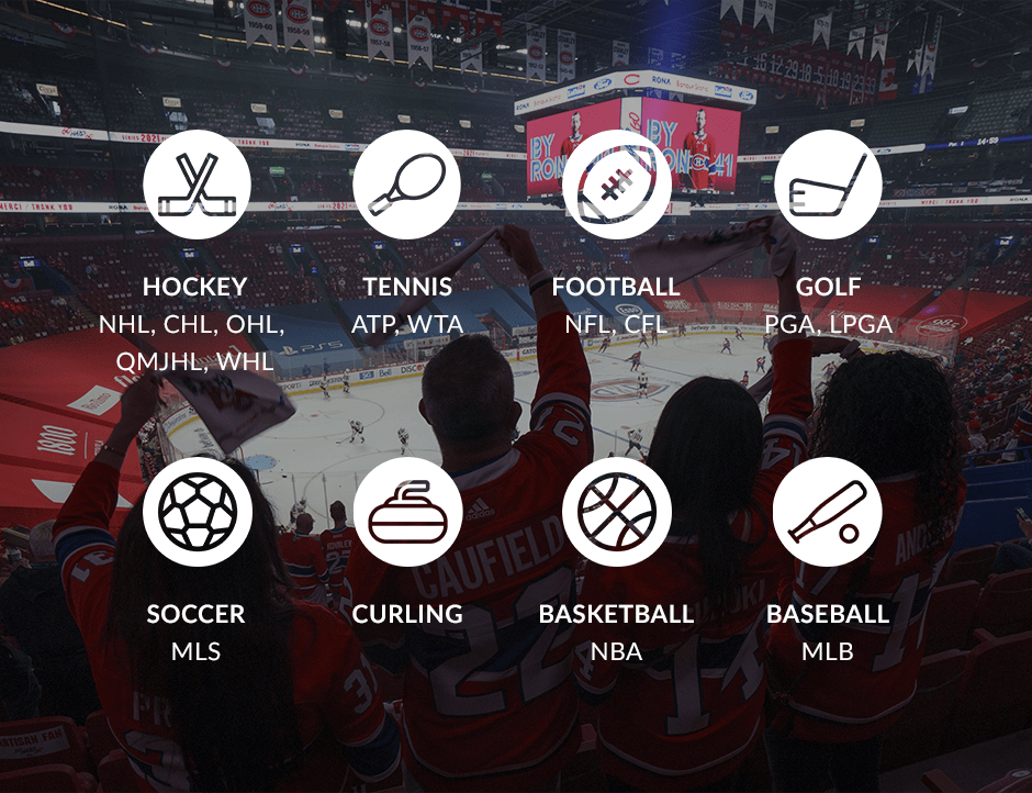 graphic showing sports and leagues
